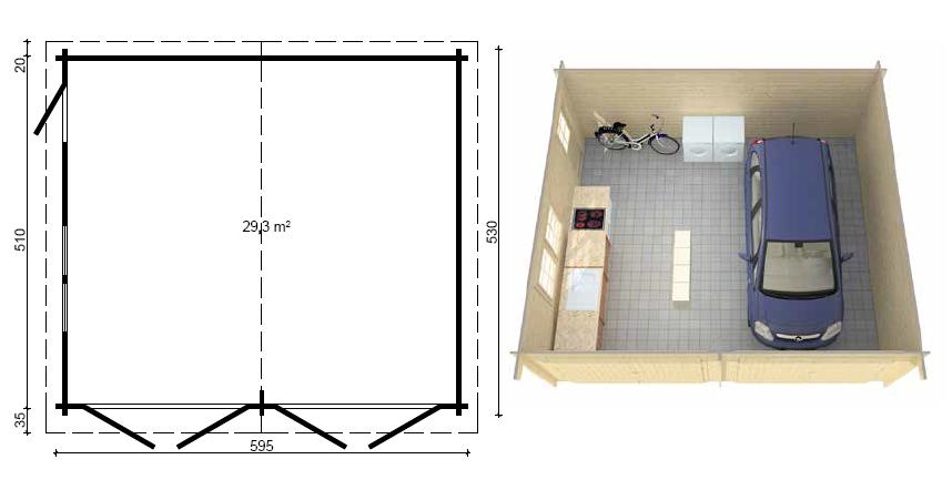Casetta legno doppio 530x595 da 40 mm - Misure garage per 2 auto ...