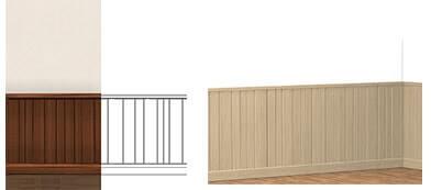 Boiserie e profili in legno per arredamenti d'interni