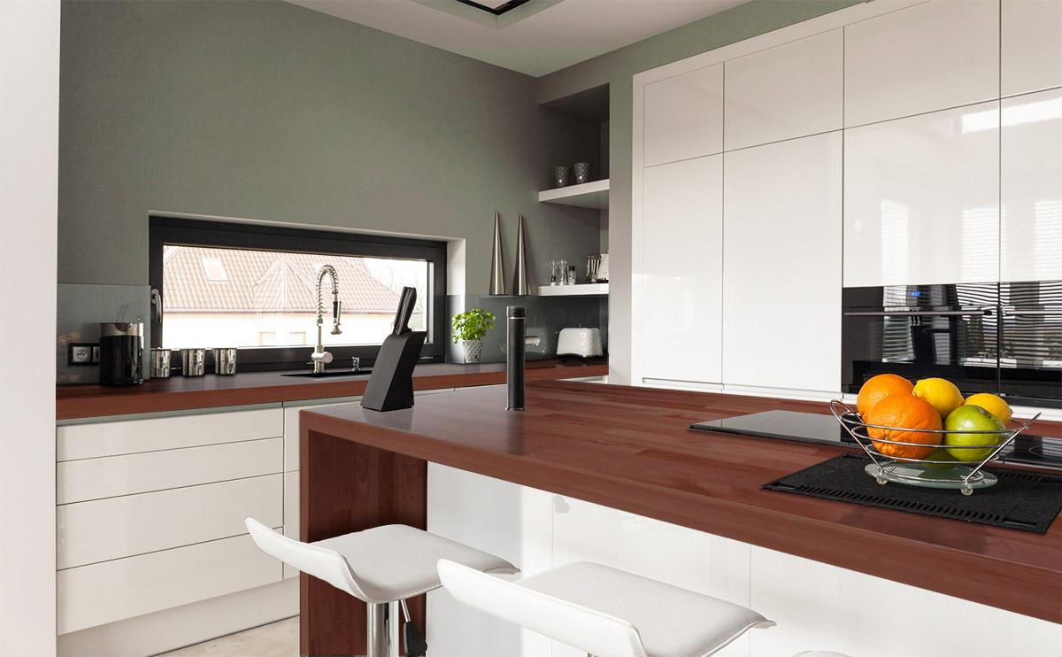 Piano cucina in legno lamellare massello for Cucine legno massello