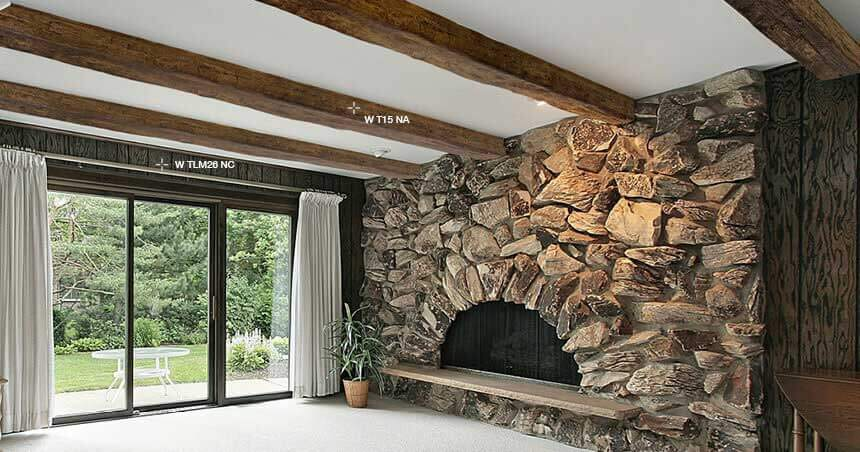 Travi rustiche per soffitti in poliuretano negozio online for Polistirolo finto legno