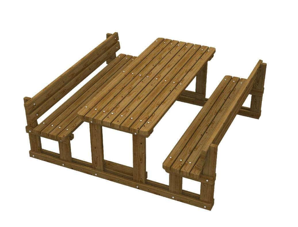 Tavolo parco picnic in legno di pino impregnato panche con schienale integrate - Tavolo pic nic decathlon ...