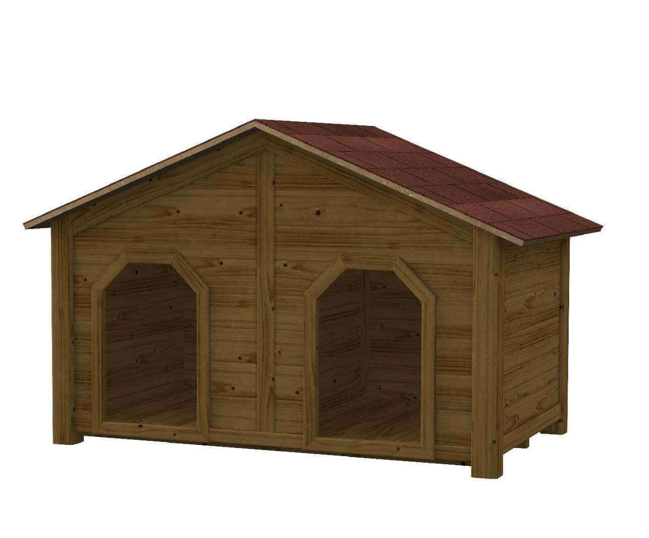 Cuccia doppia in legno per cani da esterno kiwi for Cucce per gatti da esterno coibentate