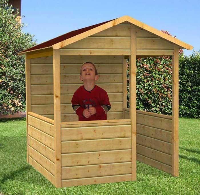 Casetta gioco per bambini in legno impregnato in autoclave for Casette usate per bambini