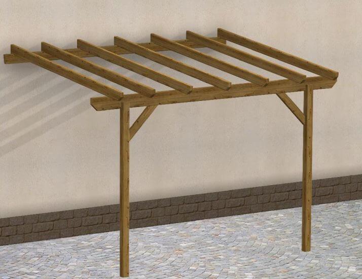 Tettoia in legno copertura in legno easy addossata con - Gazebo da parete ...
