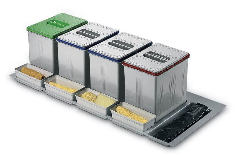Set 4 contenitori per cassetto 120 negozio online - Mobile raccolta differenziata 4 secchi ...