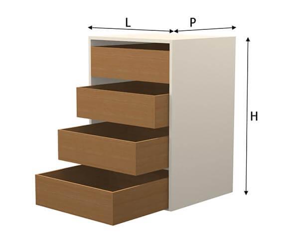 modulo cassettiera per cucine in muratura