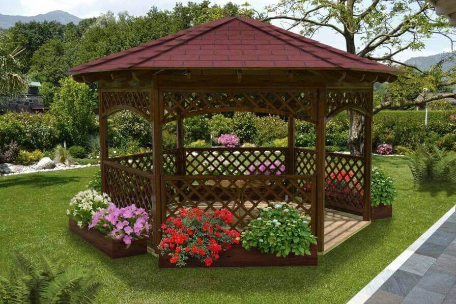 Gazebo in legno hexagonal con falda copertura tegola for Dettagli di incorniciatura del tetto di gambrel