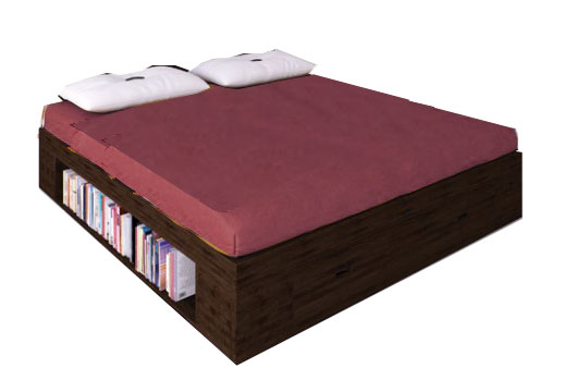 Letto su misura con libreria in legno box