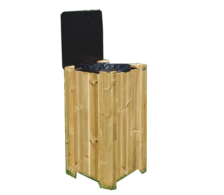 Cestino in legno per esterni fandaglia - Contenitori rifiuti differenziati per casa ...