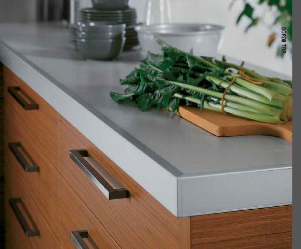 Top per cucine laminato con bordo in alluminio
