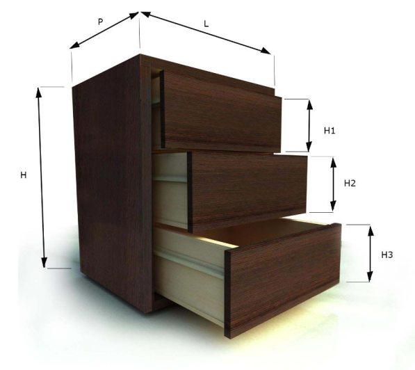 modulo cassettiera per armadi e mobili