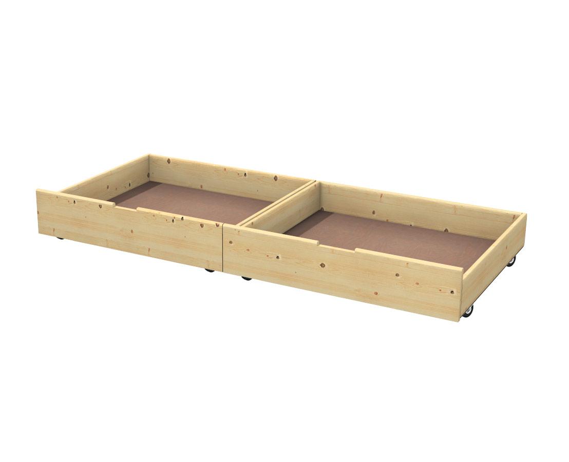 Cassetto contenitore sotto letto in abete