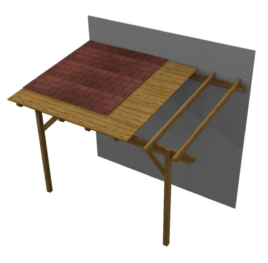 Gazebo in legno copertura in legno easy addossata con for Copertura piana in legno dwg
