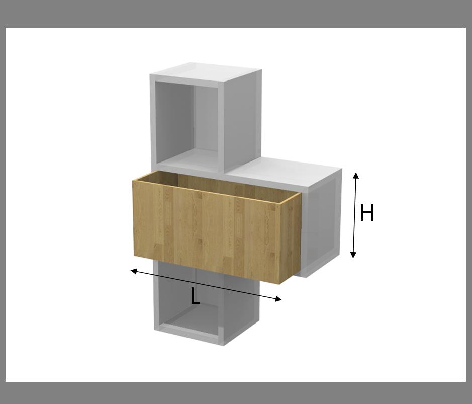 Contenitore per tetris in legno massello for Scaffali in legno componibili