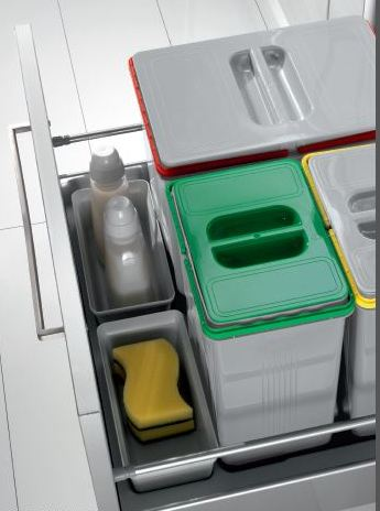 Set 3 contenitori per cassetti da 90 e 100 - Porta spazzatura differenziata ...