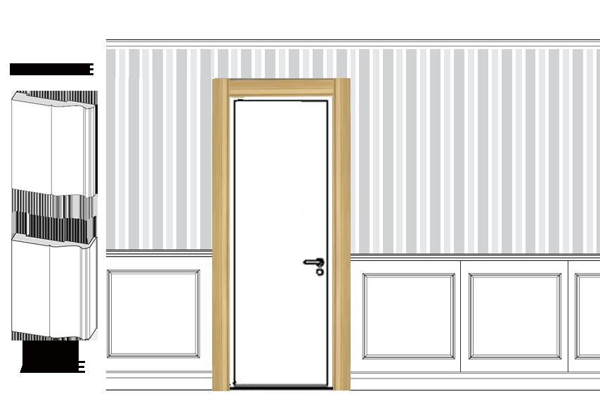 Coprifili per porte per boiserie in legno