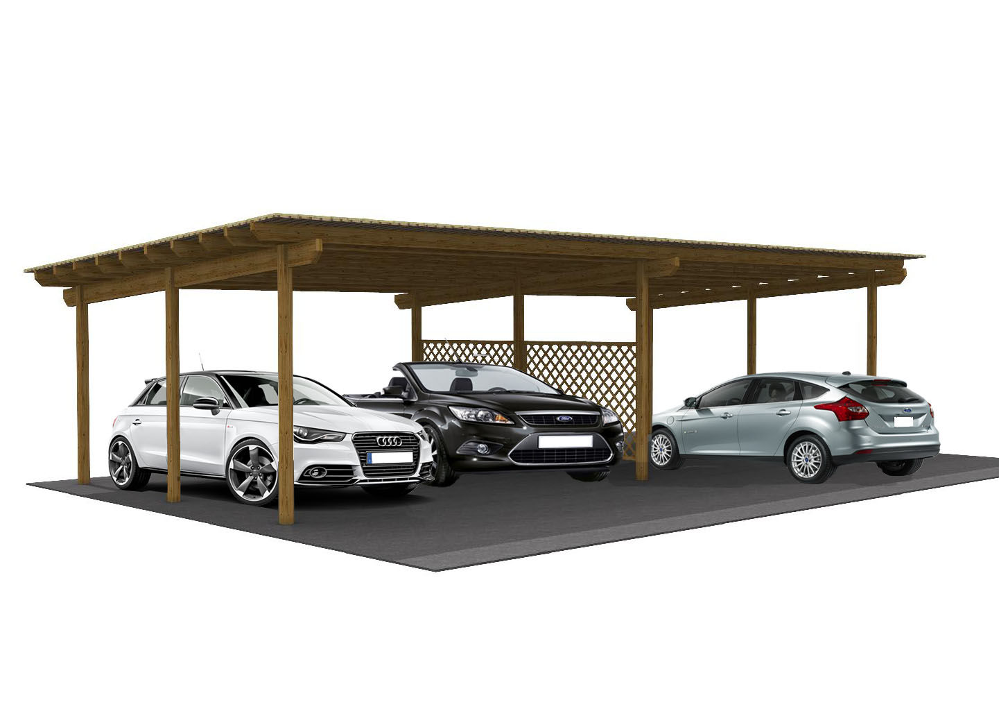 Garage in legno copertura per auto in legno tettoia auto for Quali sono le dimensioni di un garage per due auto