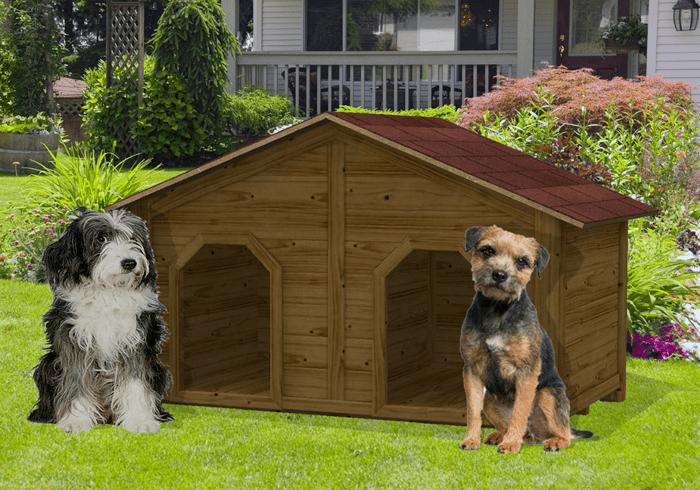 Cuccia doppia in legno per cani da esterno kiwi for Cucce per cani da esterno riscaldate