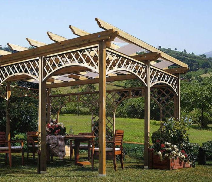 pergola in legno gazebo in kit easy double - Legno Kit Gazebo Rettangolare