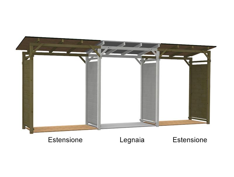 Estensione per legnaia easy in pino for Legnaia fai da te