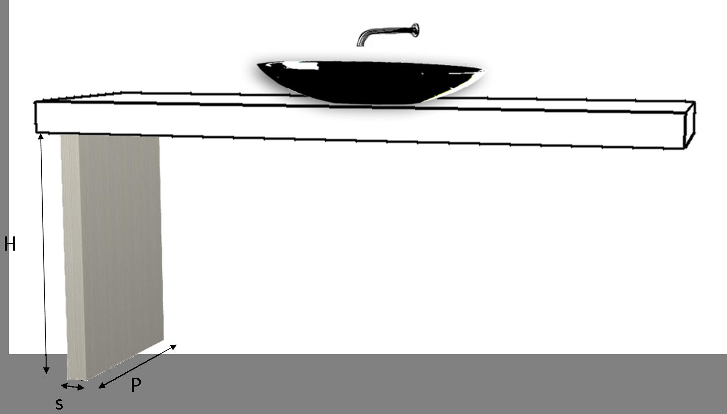 Fianco per top lavabo laminato su misura - Top cucina laminato su misura ...