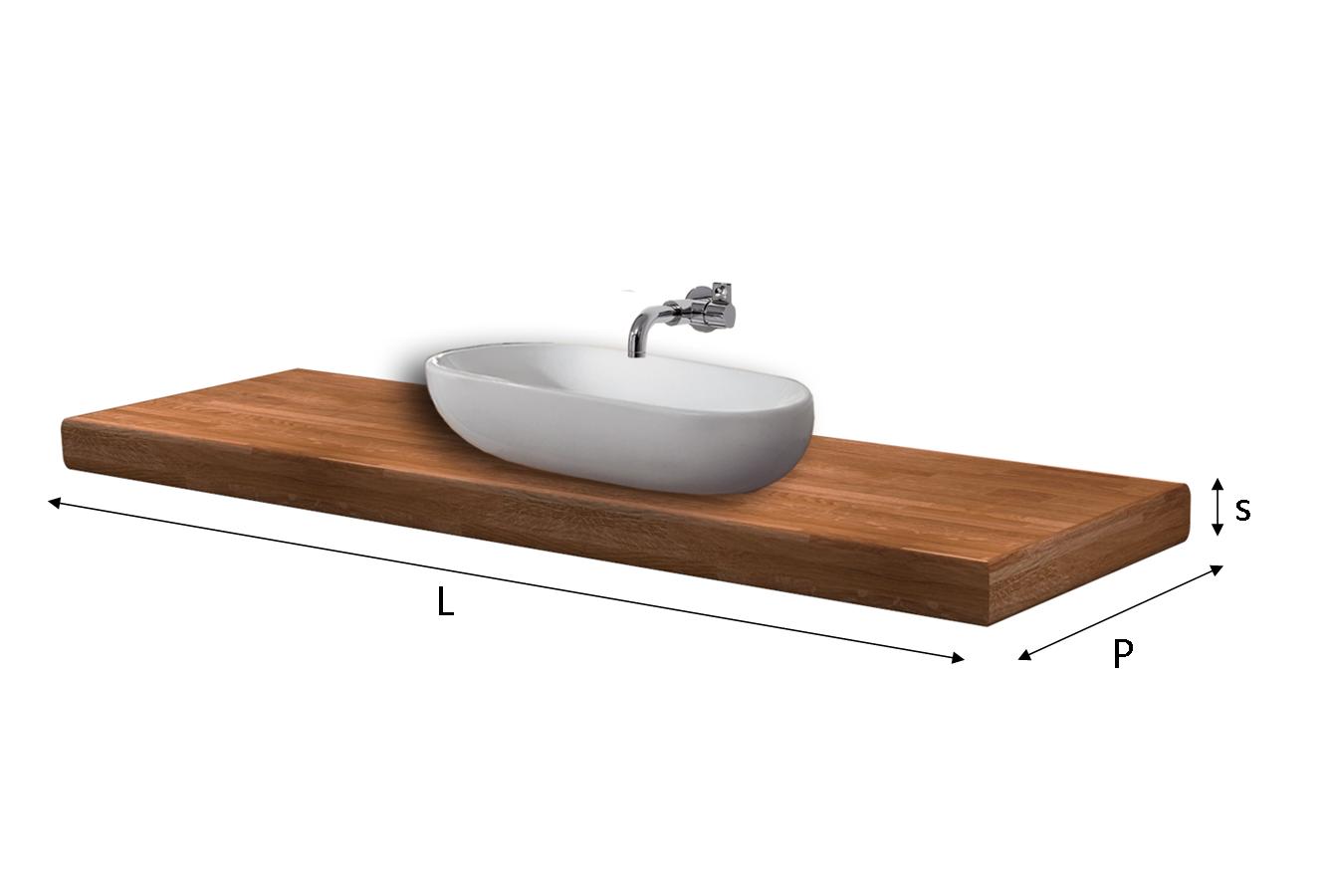 Top lavabo lamellare fj su misura - Top bagno legno massello ...