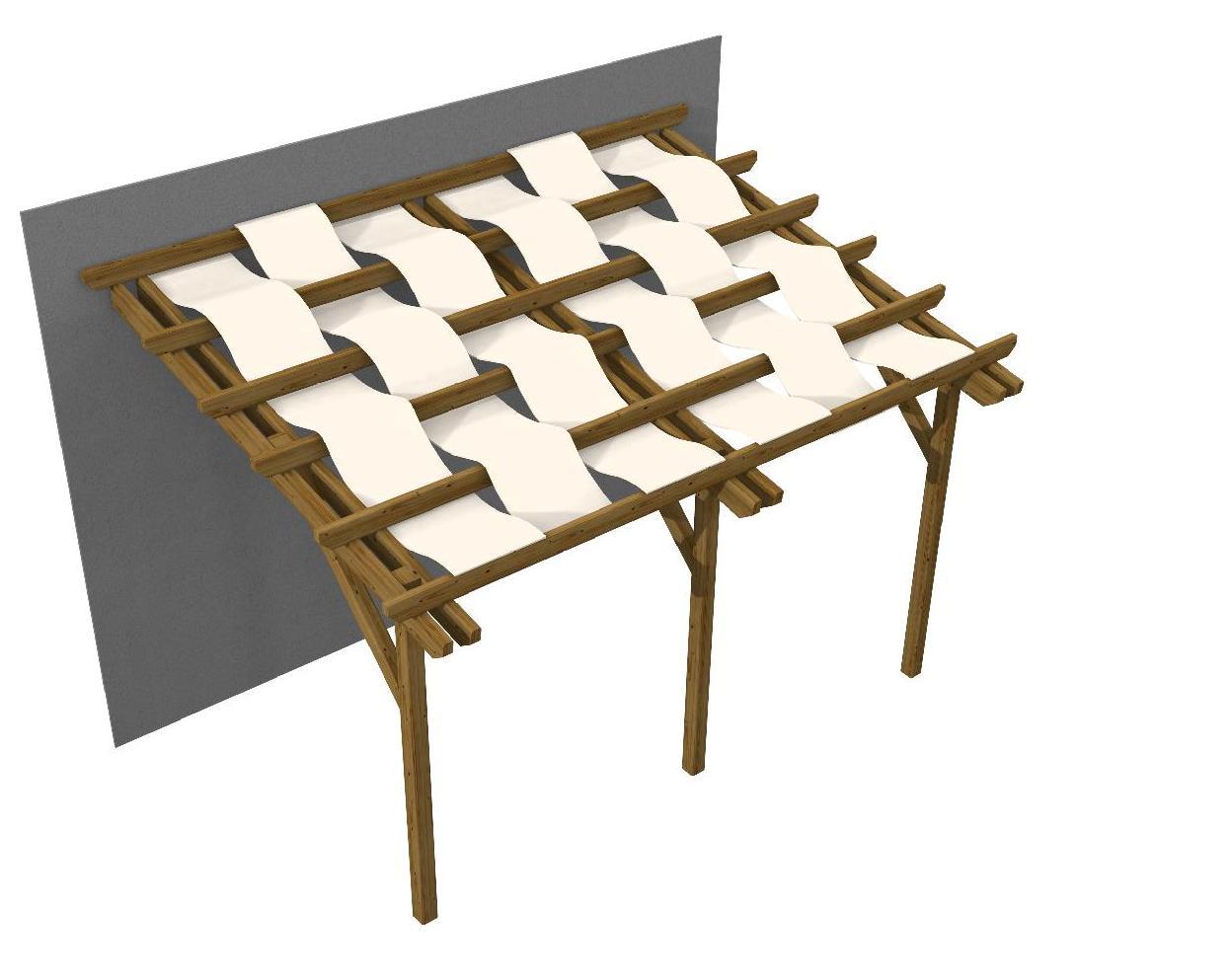 Pergola in legno addossata con teli onda gazebo florence for Teli impermeabili per laghetti prezzi