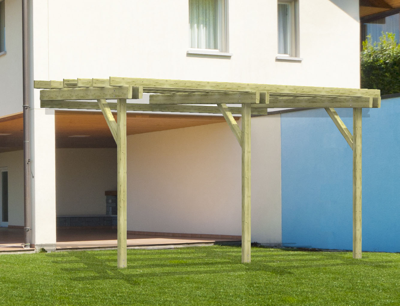 pergola in kit - gazebo florence eco addossata