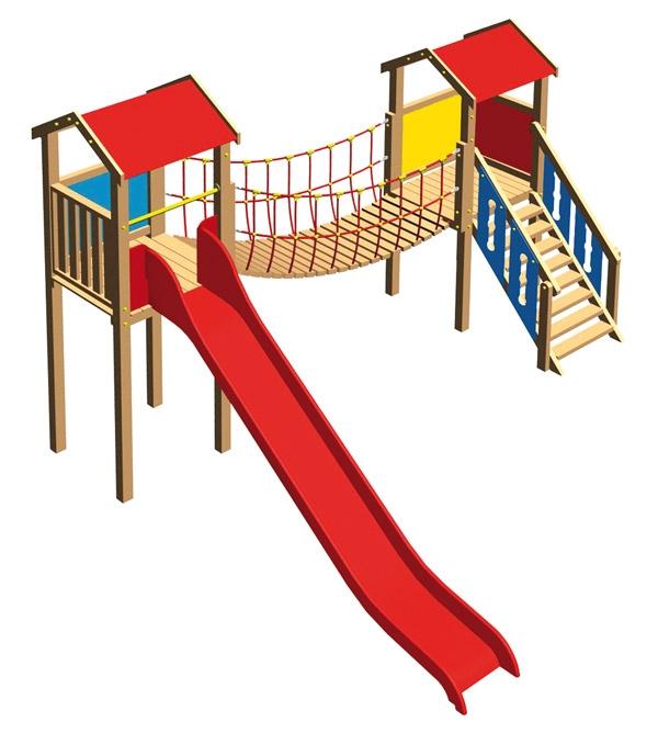 Fortino parco giochi ponte corda 770 446x438 cm for Altalena con ponte