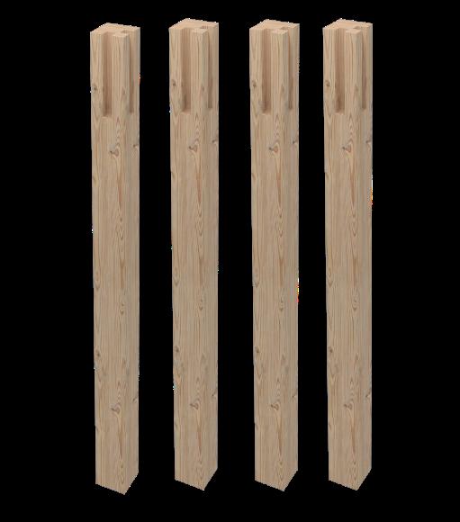 Set 4 gambe tavolo abete quadre for Piani in legno online