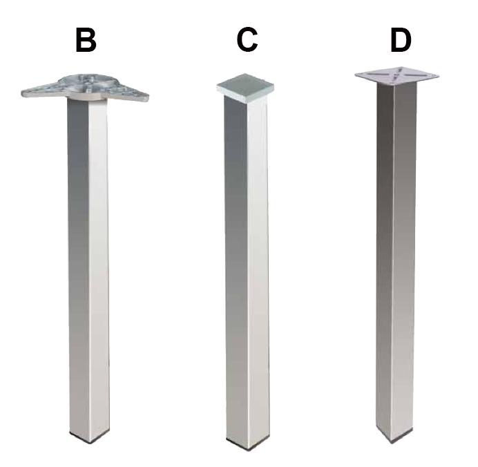 gambe quadre in metallo per tavoli