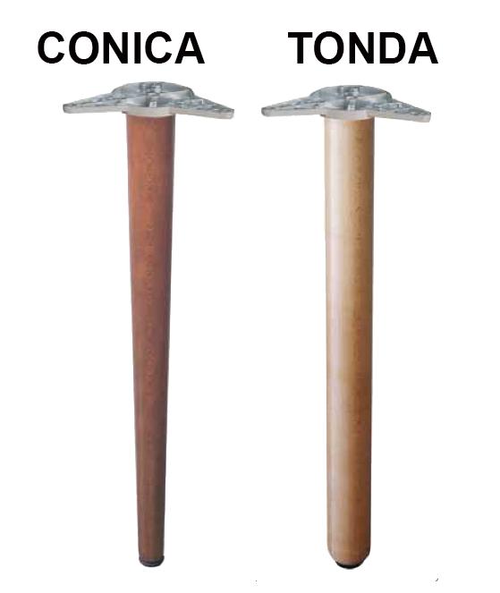 Gambe in legno per tavoli con piastra