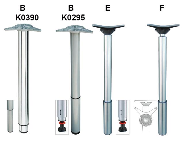 Gambe regolabili in metallo per tavoli