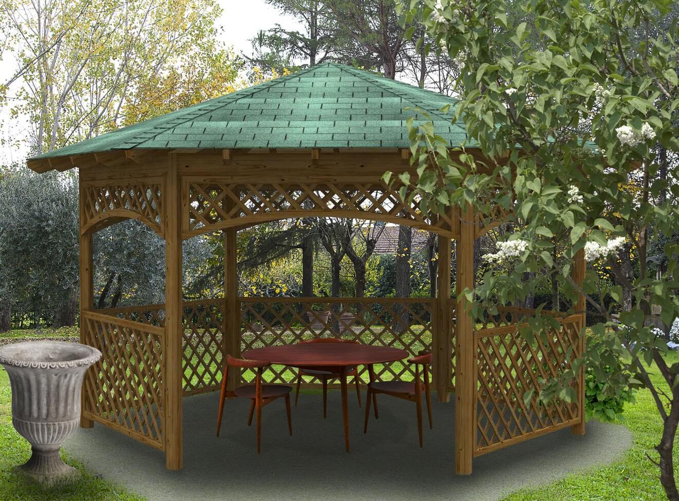 Gazebo pergola in legno hexagonal tegola for Gazebo in legno usato