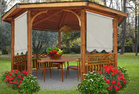 Gazebo pergola in legno hexagonal tegola for Tavoli per gazebo