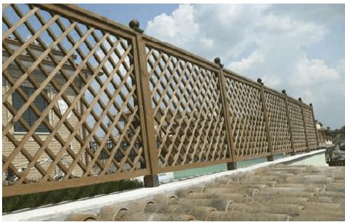Grigliati in legno rettangolari maglia 120 mm for Corrimano in legno roma