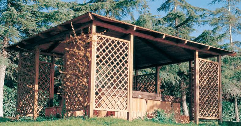 gazebo in legno - pergola gabriel rettangolare - Legno Kit Gazebo Rettangolare