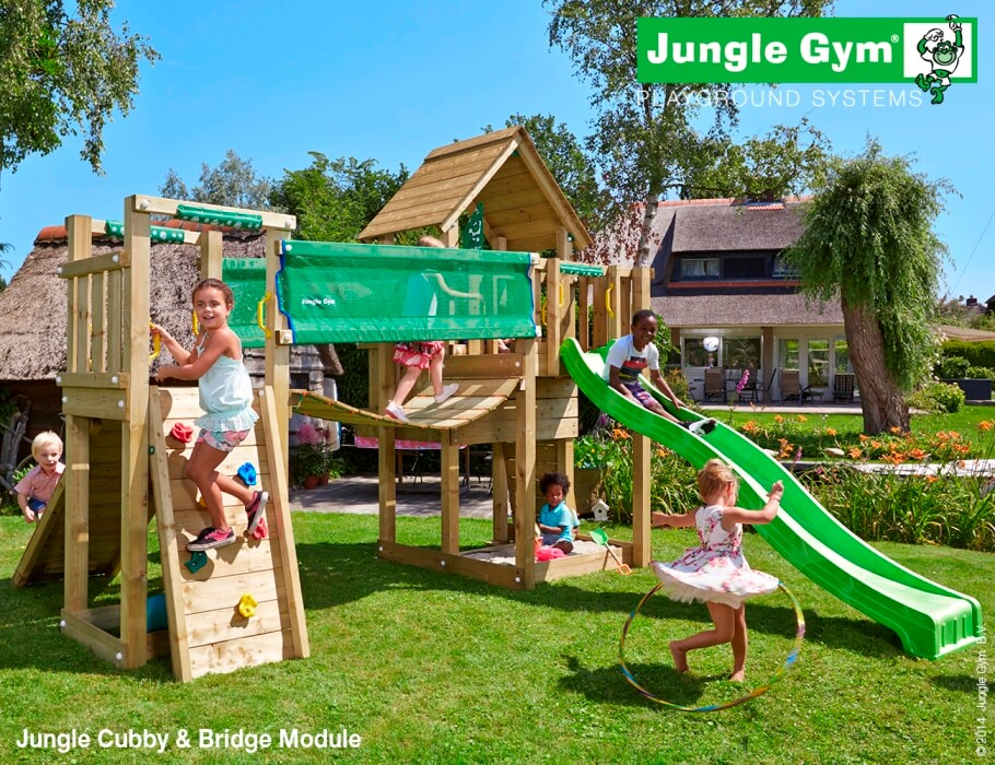 Parco gioco CUBBY-Bridge jungle gym a due torrette con scivolo_mybricoshop