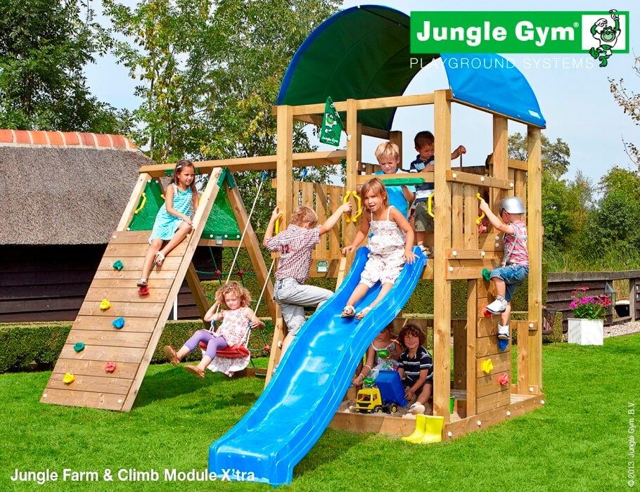Parco gioco FARM-CLIMB Jungle Gym con scivolo_altalena-arrampicata-mybricoshop_product