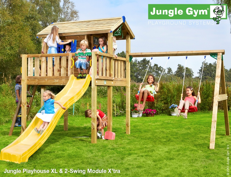 Parco gioco con scivolo e altalena Jungle-Gym-Playhouse-xl-swing_mybricoshop