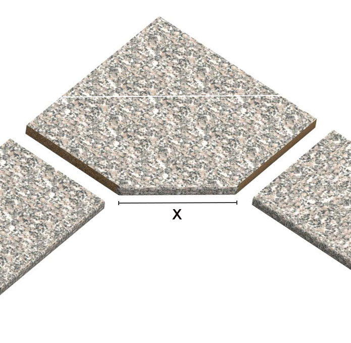 Elemento trapezoidale ad angolo per top laminati