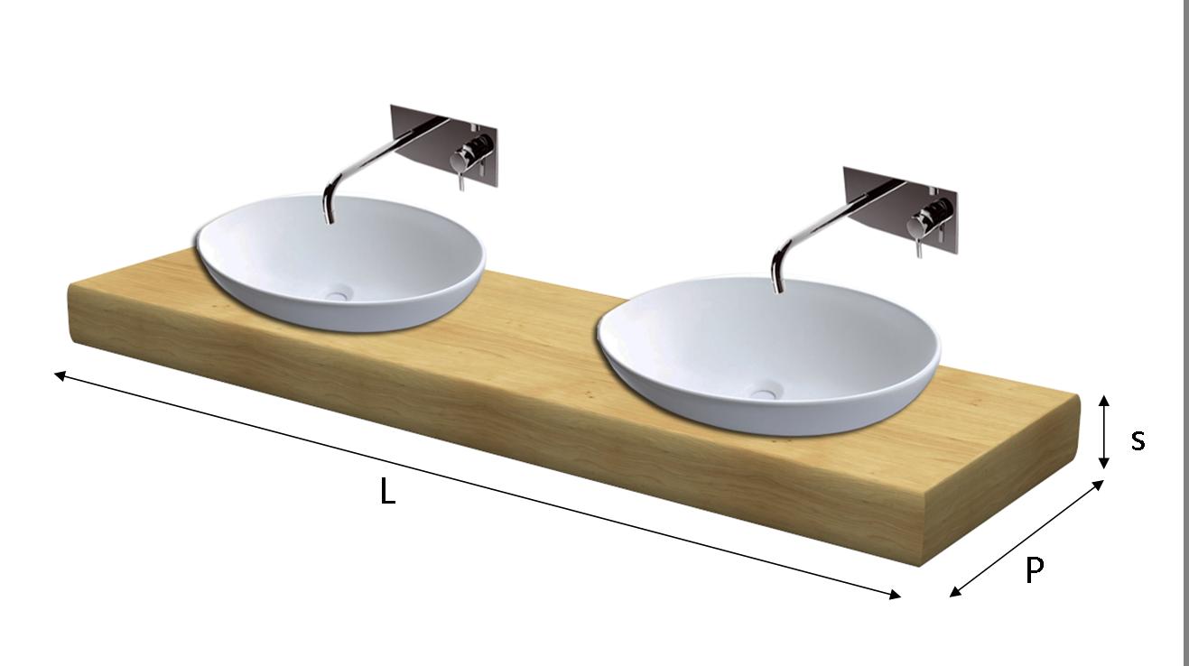 Top lavabo legno massello su misura - Top bagno su misura ...