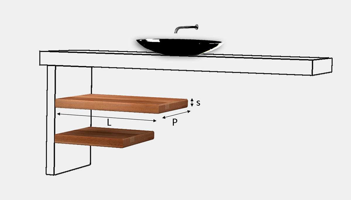 Mensola coordinata top lavabo lamellare fj su misura