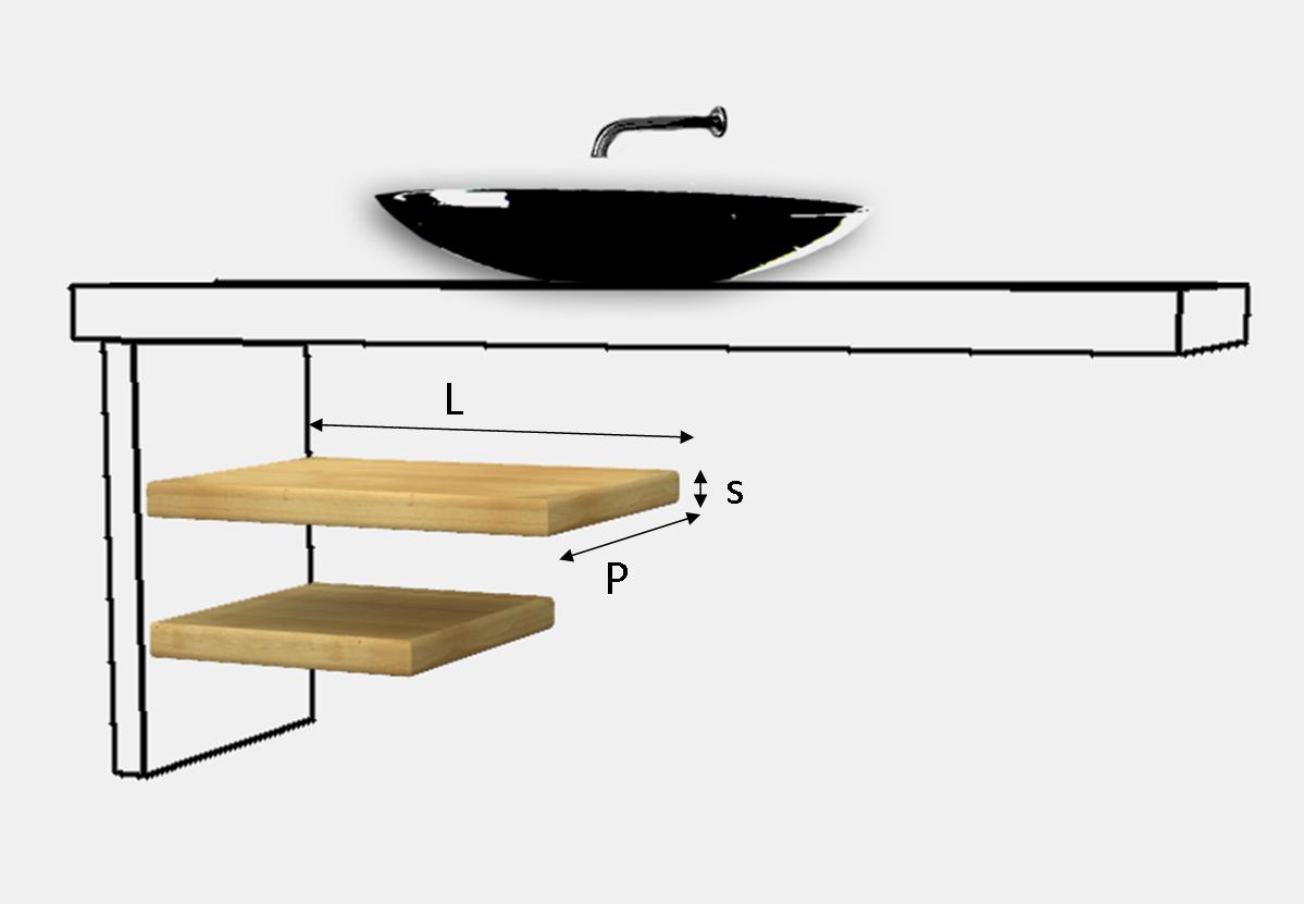 Mensola coordinata per top lavabo legno massello su misura - Top bagno su misura ...