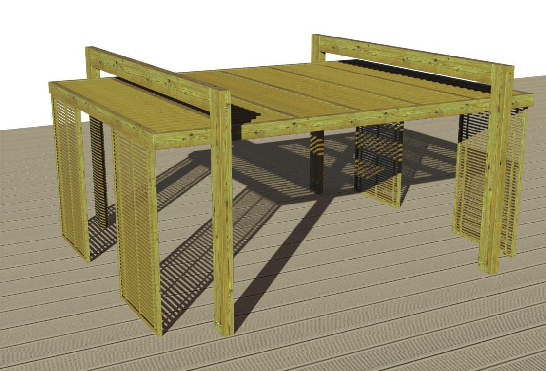Pergola moderna in legno   gazebo hi tech in pino impregnato in ...