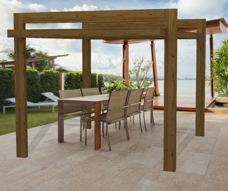 Pergola moderna in legno gazebo hi tech isolata in pino impregnato in autoclave - Pergolas modernas ...
