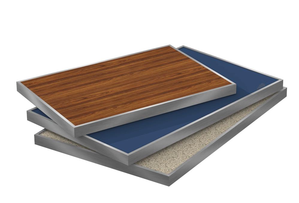 Piano tavolo con bordo in alluminio