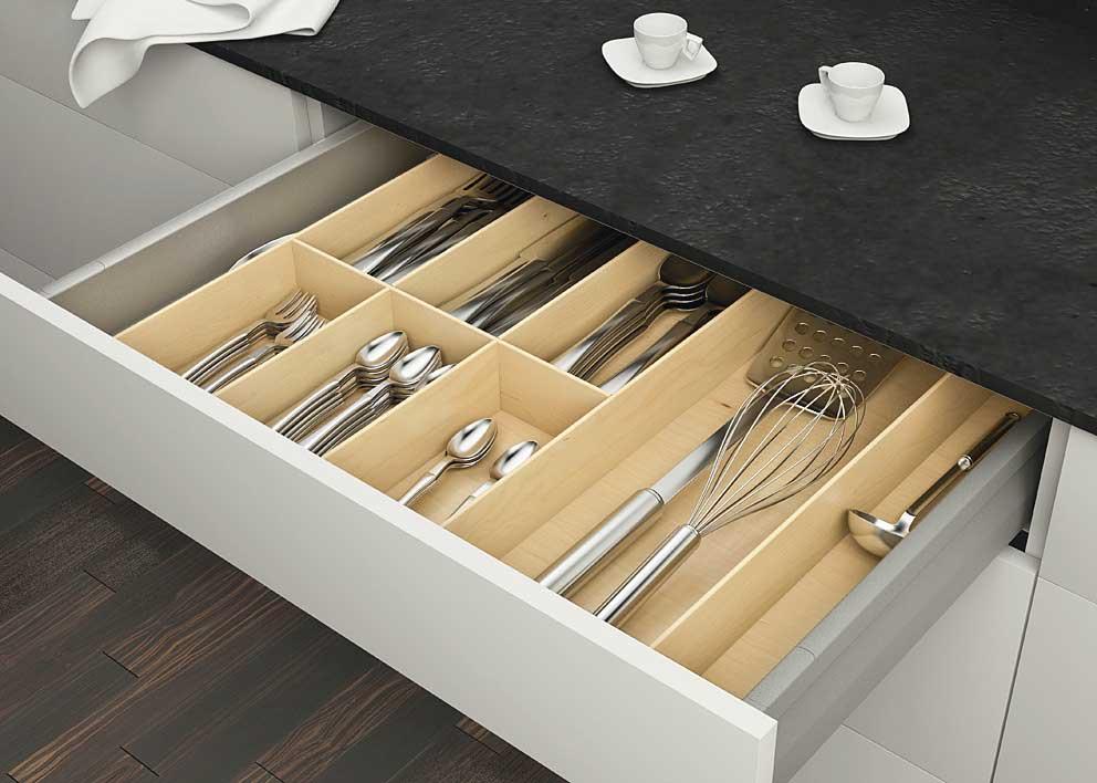 Inserto portaposate universale in legno negozio online - Portaposate per cassetti ...