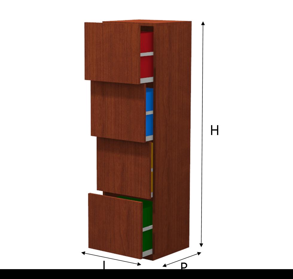 Mobile a colonna per la raccolta differenziata con 4 cassetti - Mobile a cassetti ...