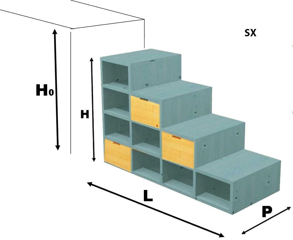 Soppalco In Legno Per Esterno scaletta contenitore wanda su misura per letti e soppalchi